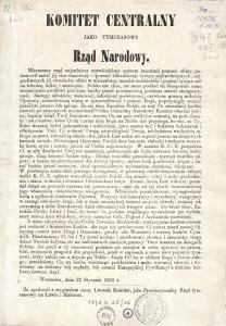 Powstanie styczniowe Manifest Tymczasowego Rządu Narodowego, Manifest 22 stycznia